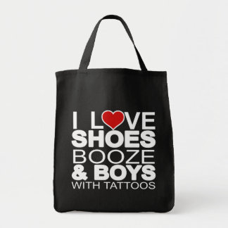 Love Shoes Booze Boys with Tattoos Tote Bag