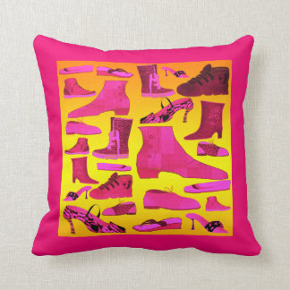 Love Shoes Neon Pink Yellow Girly Vibrant Duotone Cushion