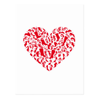 Love shoes, red heart with shoe silhouettes postcard