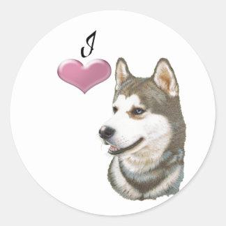 Love Siberian Husky Dog Art with 3D Heart Classic Round Sticker
