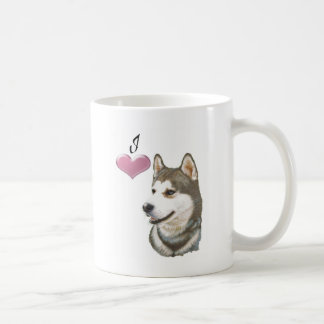 Love Siberian Husky Dog Art with 3D Heart Coffee Mug