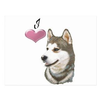 Love Siberian Husky Dog Art with 3D Heart Postcard