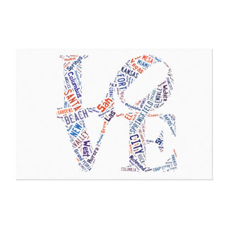 Love Sign American Cities Words Tags  Cloud Stretched Canvas Prints