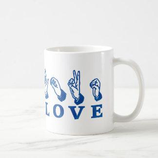 LOVE Sign Language - Hand Sign Tees, Gifts Basic White Mug
