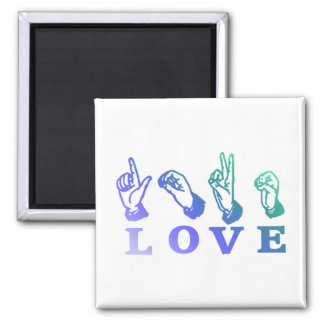 LOVE Sign Language - Hand Sign Tees, Gifts Square Magnet