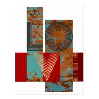 Love sign rusty retro design white postcard