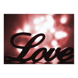 Love sign with red sparkle lights behind 13 cm x 18 cm invitation card