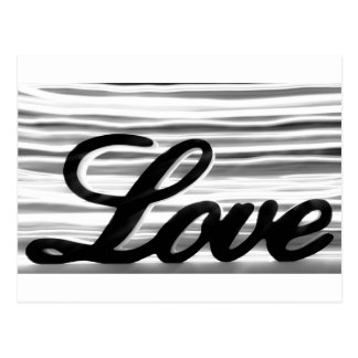 Love sign with white light streaks behind postcard