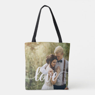 Love simple modern hand writing typography tote bag