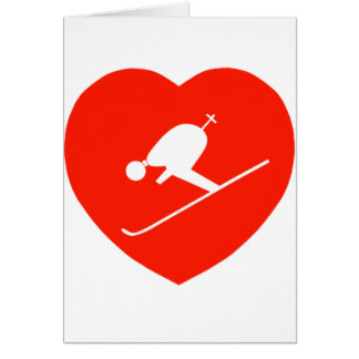 Love Skiing Red Heart Card