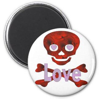 Love Skull 6 Cm Round Magnet