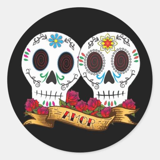 """Love Skulls """"Amor"""" Sticker"""