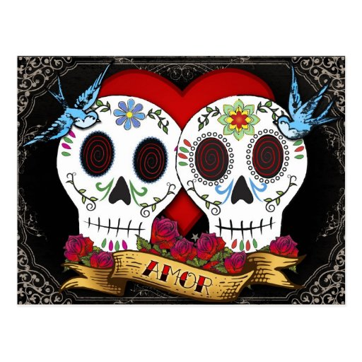 Love Skulls Day of the Dead Postcard