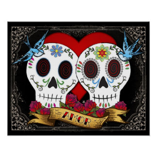 Love Skulls Poster Print