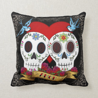 Love Skulls Throw Pillow