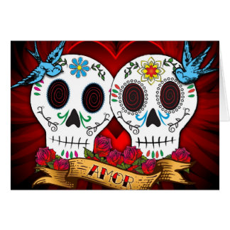 Love Skulls with Bluebirds Card