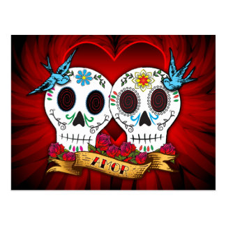 Love Skulls with Bluebirds Postcard