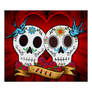 Love Skulls with Bluebirds Poster/Print Poster