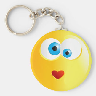 Love Smilie Basic Round Button Key Ring
