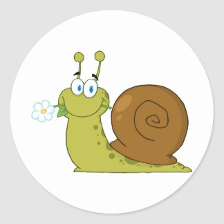 Love Snail Classic Round Sticker