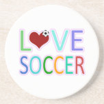 LOVE SOCCER DRINK COASTERS