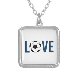 Love Soccer Silver Plated Necklace
