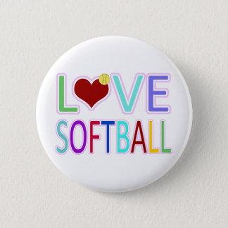 LOVE SOFTBALL 6 CM ROUND BADGE
