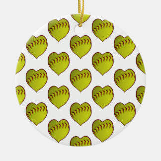 Love Softball Pattern Christmas Ornament
