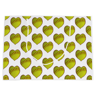 Love Softball Pattern Large Gift Bag