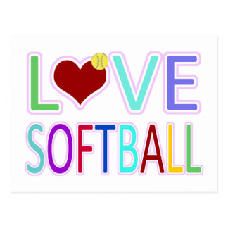 LOVE SOFTBALL POSTCARD