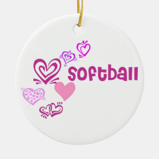 Love Softball Round Ceramic Decoration