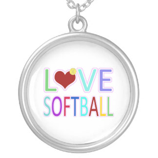 LOVE SOFTBALL SILVER PLATED NECKLACE