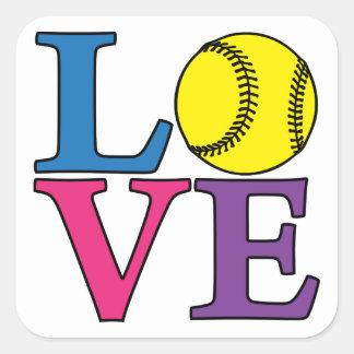LOVE Softball Square Sticker