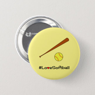 Love softball yellow hashtag sports 6 cm round badge