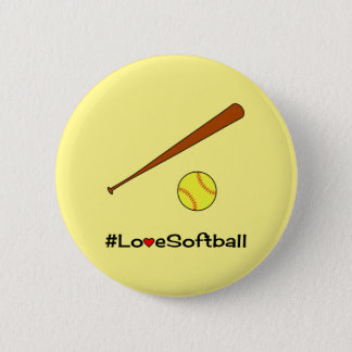 Love softball yellow hashtag sports 6 cm round badge