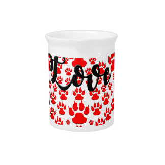 love solid red paw heart pitcher