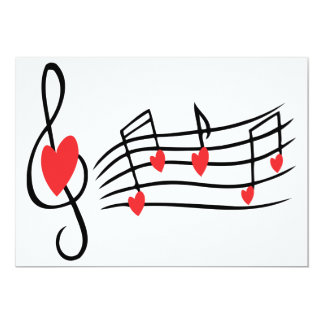 LOVE SONG MUSIC NOTES CUTE RED BLACK WHITE FRIENDS CARD
