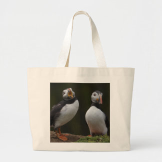 Love Song Puffins Large Tote Bag