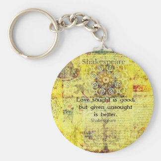 Love sought is good, but given unsought is better basic round button key ring