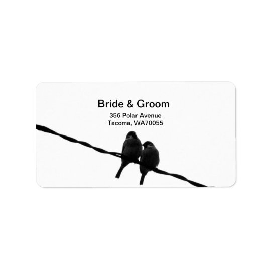 Love/Sparrows on Wire Wedding Label