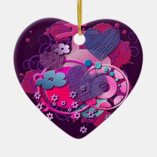 Love Splat Double-Sided Heart Ceramic Christmas Ornament