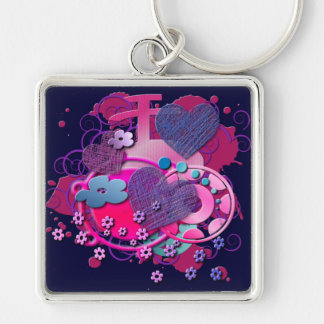 Love Splat Silver-Colored Square Key Ring