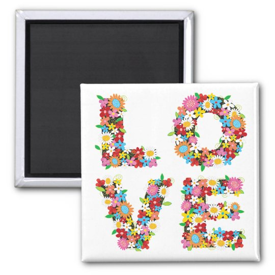 LOVE Spring Flowers Magnet
