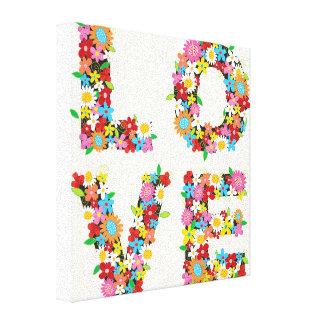 LOVE Spring Flowers Whimsical Nursery Wall Art Canvas Print