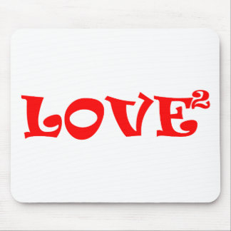 Love Squared in Red Mouse Pads