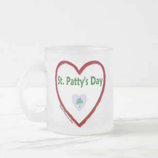 Love St. Patty's Day Frosted Glass Coffee Mug