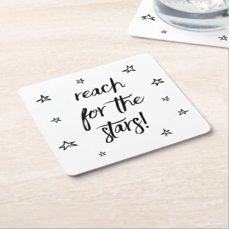 Love Stars Black White Wedding Motivational Dreams Square Paper Coaster
