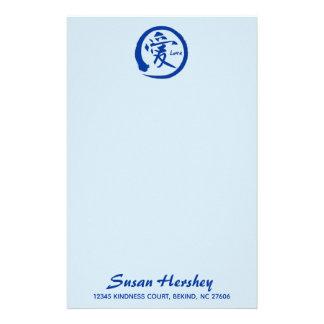 Love stationery   blue zen circle and kanji