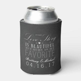 Love Story Chalkboard Vintage Wedding Can Cooler