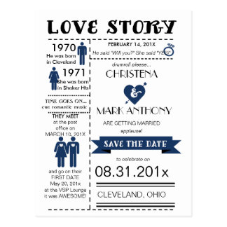 Love Story Save The Date Postcard (Navy)